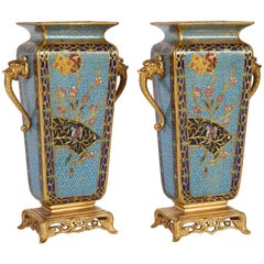 Pair of French Japonisme Bronze Ormolu and Champlevé Cloisonné Enamel Vases