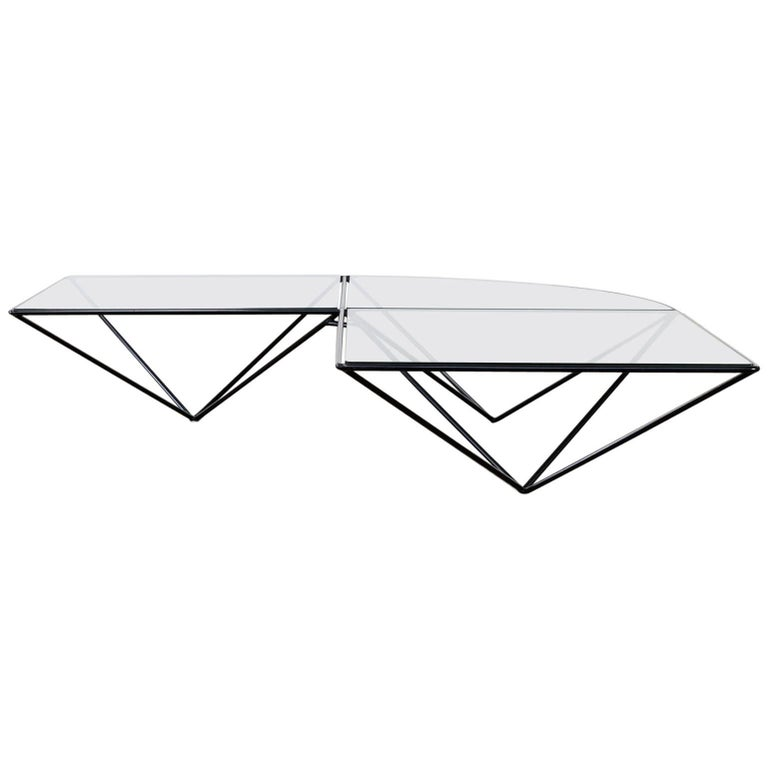 Glass Corner Coffee Table, style of Paolo Piva