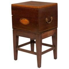 Georgian Inlaid Mahogany Cellarette 'Box' on Later Stand, circa 1790