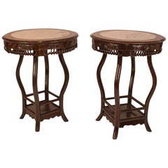 Pair of Hong Mu and Marble Round Tables, China, circa 1890