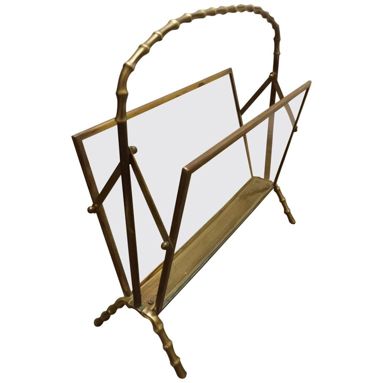 Maison Baguès Brass and Glass Magazine Rack For Sale