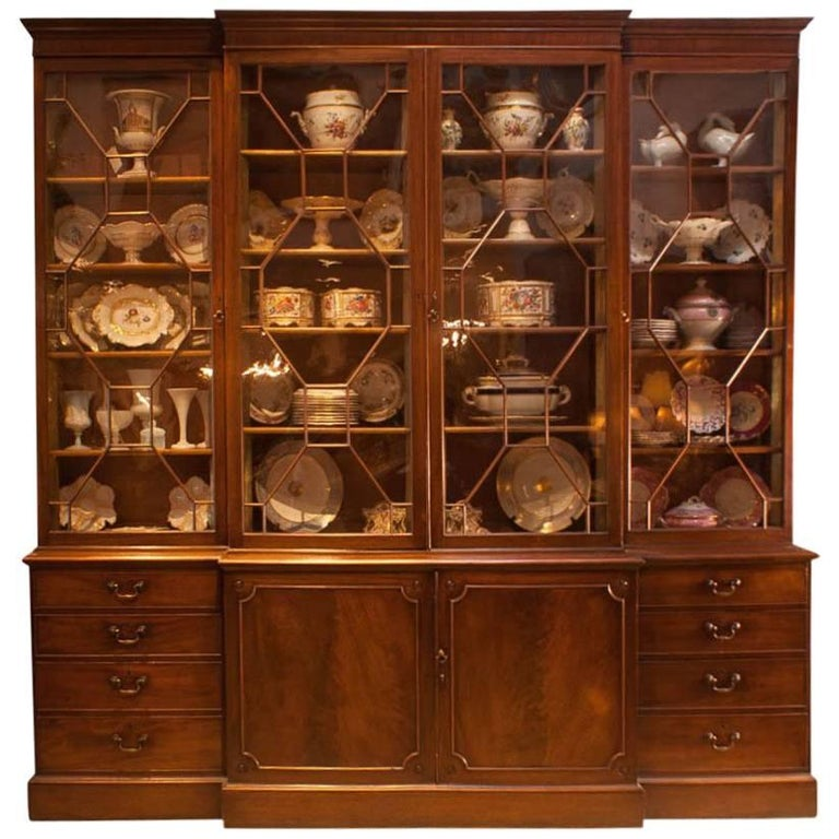 George III Period Mahogany Breakfront Bookcase, England, circa 1790