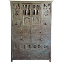 Aged Green Moroccan Carved Cabinet, Plenty of Storage