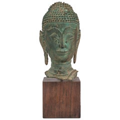 Thai Verdigris Bronze Buddha Head