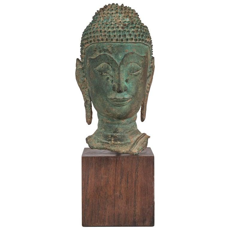 Thai Verdigris Bronze Buddha Head For Sale