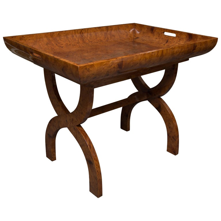 Amboyna Wood Tray on Stand For Sale