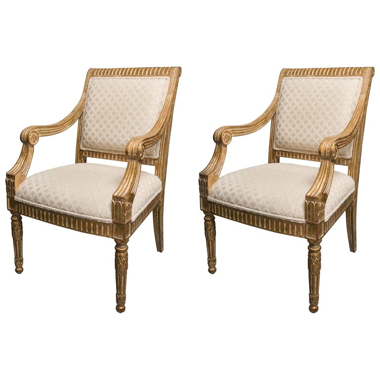 Pair of Stylized Louis XVI Gilt Armchairs For Sale