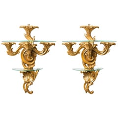 Pair of Gilt Rococo Style Brackets with Glass Shelves