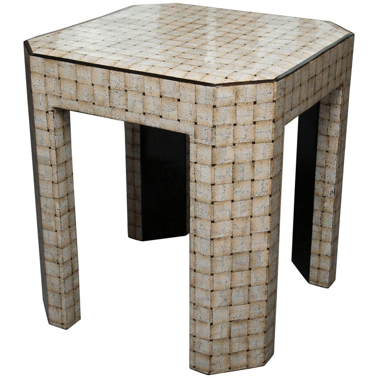 Unique Simulated Egg Shell Side Table For Sale