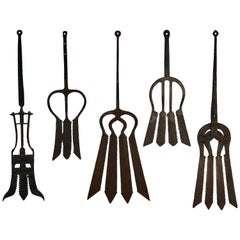 Collection of Five Late 19th Century Antique Hand-Forged European Eel Spears