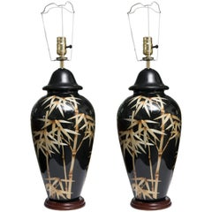 Pair of Vintage Black Glass Lamps with Bamboo Design