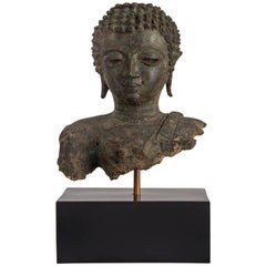 Chiang Saen Period Thai Patinated Bronze Buddha Head