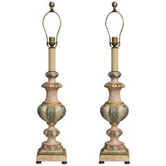 Pair of Polychromed Italian Architectural Elements as Lamps