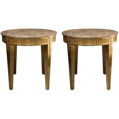 Pair of Giltwood Louis XVI Style Circular Tables
