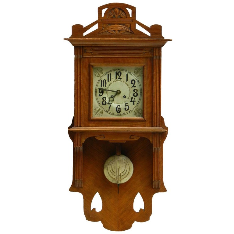Arts and crafts wall clock german art nouveau circa 1900 for Arts and crafts clocks for sale