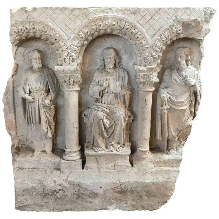 Th century relief carving of jesus with peter and paul