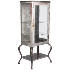 Industrial Apothecary Polished Steel Vitrine, 1940s