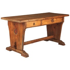 Country French Rustic Larchwood Desk, Mid-1800s