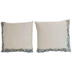 19th Century Blue and White Greek Isle Embroidered Decorative Pillows