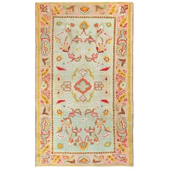 Light Blue Antique Oushak Turkish Rug