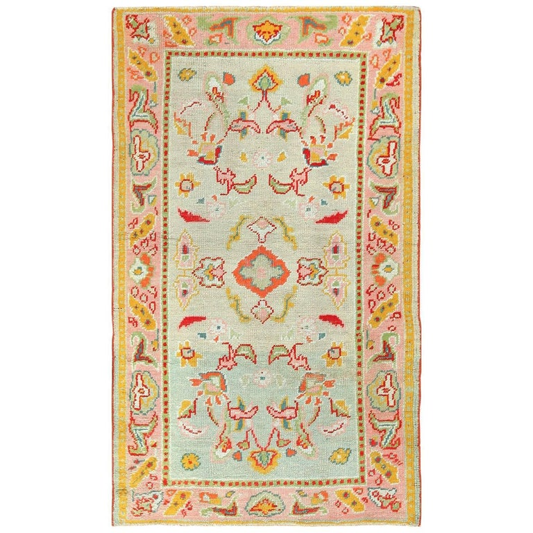 Light Blue Antique Oushak Turkish Rug For Sale