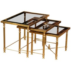 Set of Early 20th Century, French Brass Nesting Tables Gigognes with Glass Top