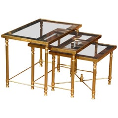 Set of Early 20th Century, French Brass Nesting Tables with Glass Top
