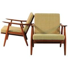 1950s Set of Two H.J. Wegner Model 240 Oak Lounge Chairs, GETAMA