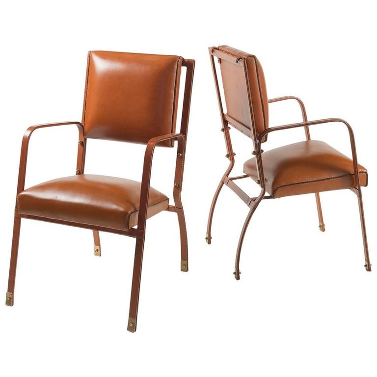Jacques Adnet, Pair of Armchairs, France, C. 1950 For Sale