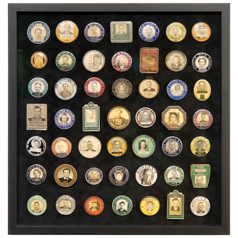 Collection of Antique Employee Badges Professionally Set in Museum Quality  Frame