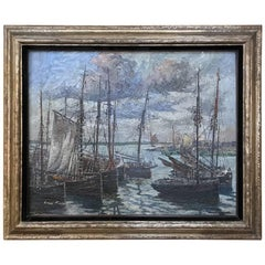 Antique Framed Oil Painting on Board by Luc Kaissin