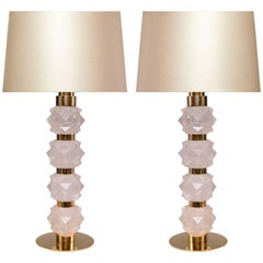 Pair of Modern Rock Candy Rock Crystal Quartz Lamps