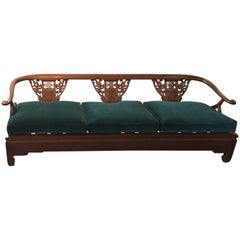 Asian Style Carved Wooden Sofa Newly Upholstered