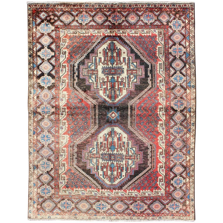 Dual Medallion Vintage Persian Seejan Rug in Red, Charcoal, Blue, and Brown
