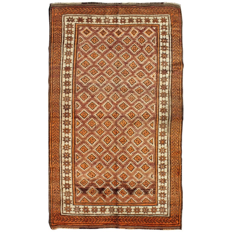 Ivory Wool And Silk Persian Naein Area Rug For Sale At 1stdibs: Vintage Persian Mishan Rug With All-Over Diamond Design In