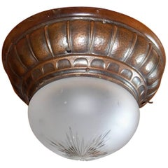 Swedish Arts & Crafts Flush Mount Fixture in Hand Hammered Copper, 1910