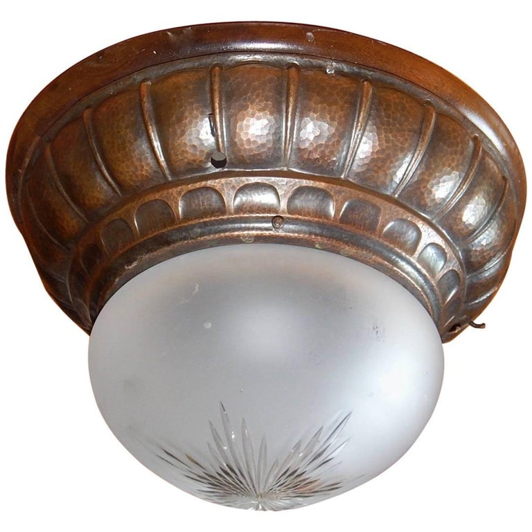Swedish Arts & Crafts Flush Mount Fixture in Hand Hammered Copper, 1910 For Sale