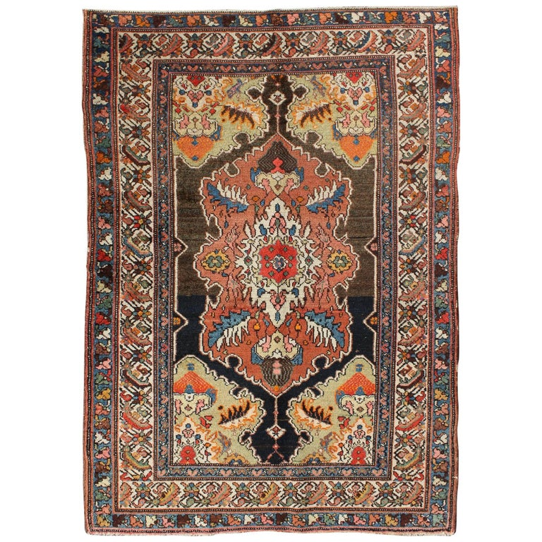 Vintage Floral Rugs: Antique Persian Malayer Rug With Floral Geometric