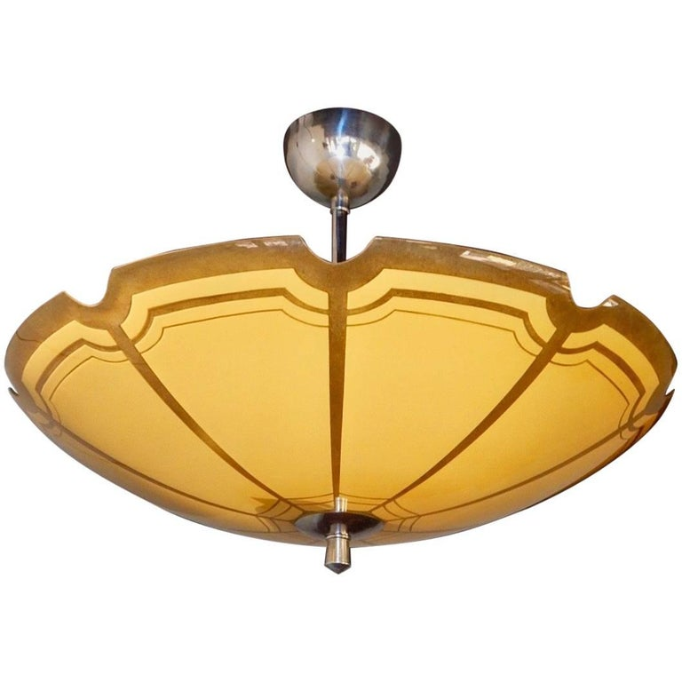 Swedish Mid-Century Modern Hanging Fixture with Cream Glass Bowl, circa 1950