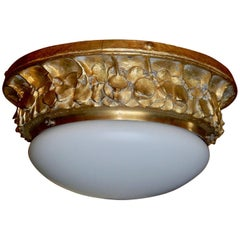 Swedish Arts and Crafts Flush Mount Shade Attributed to Alice Nordin, circa 1910
