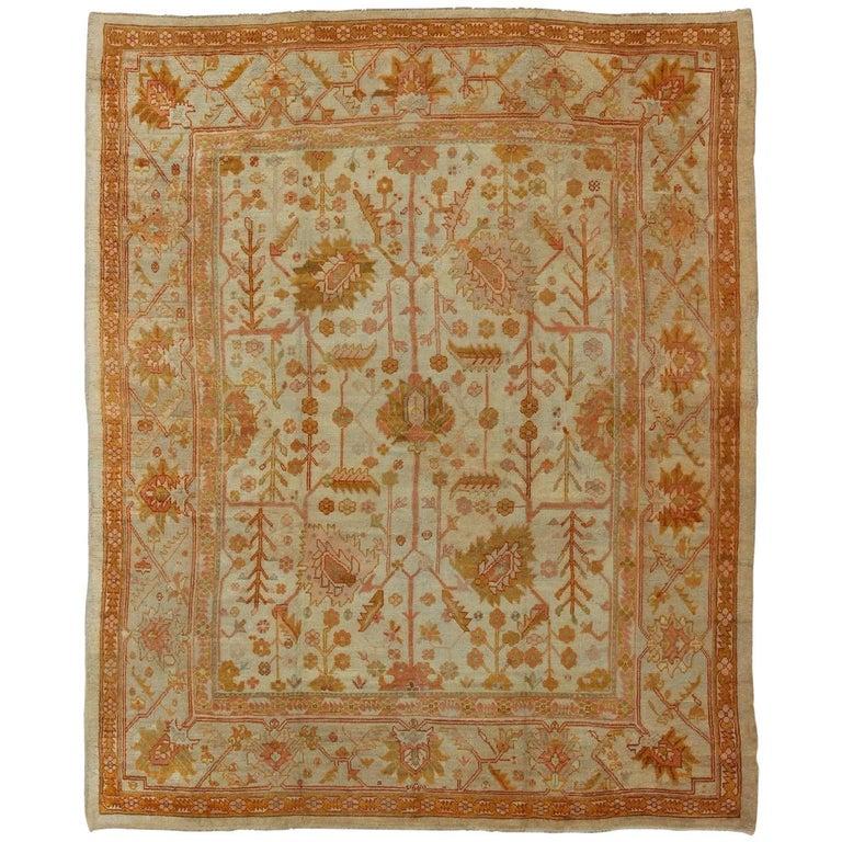 Turkish Rug Orange: Vining Floral Design All-Over Turkish Oushak Antique Rug