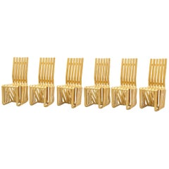 """Set of Six """"High Sticking"""" Dining Chairs Designed by Frank Gehry for Knoll"""