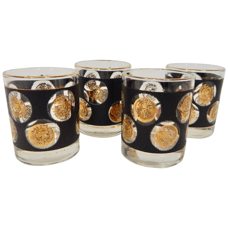 1960s Gold Coin and Black Libbey Glass Set of Four