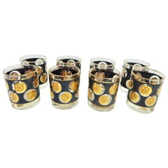 1960s Gold Coin and Black Libbey Glass Set of Eight