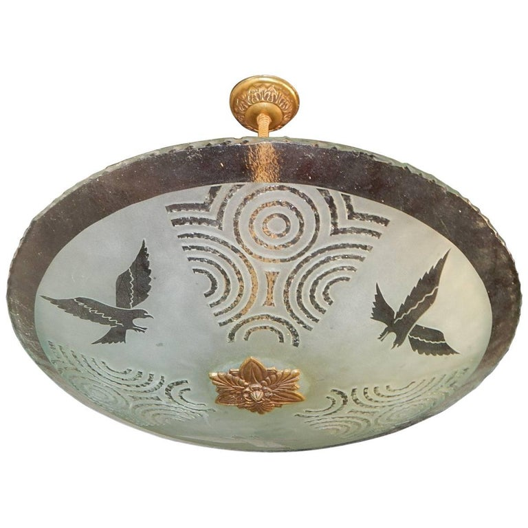 Swedish Art Deco Etched Glass Lighting Fixture with Eagle Motif, circa 1930