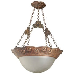 Swedish Arts & Crafts Hammered Copper Hanging Light Fixture, circa 1910