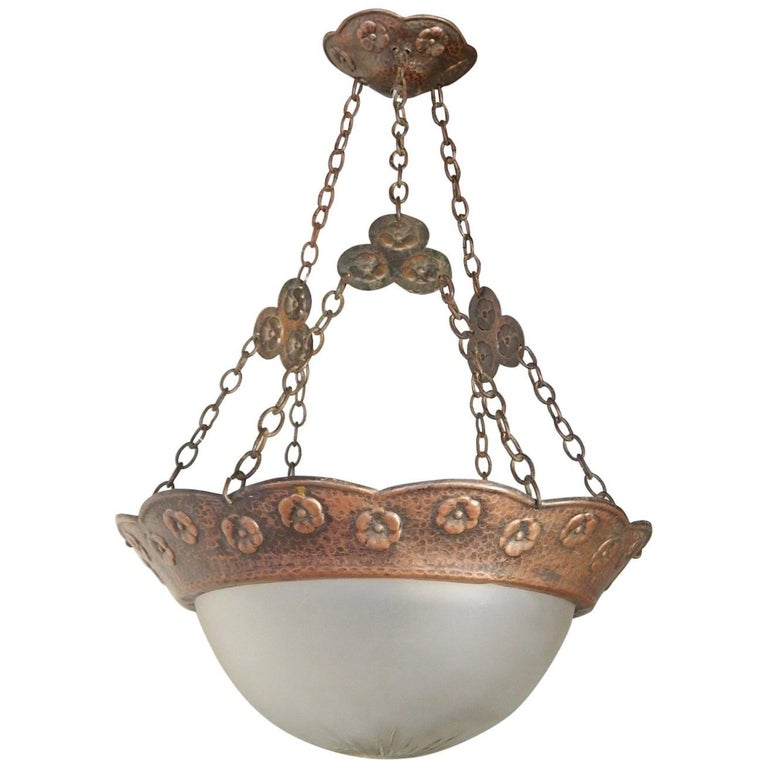 Swedish Arts & Crafts Hammered Copper Hanging Light Fixture, circa 1910 For Sale