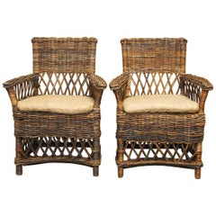 Pair of Organic Style Woven Stick Wicker Armchairs