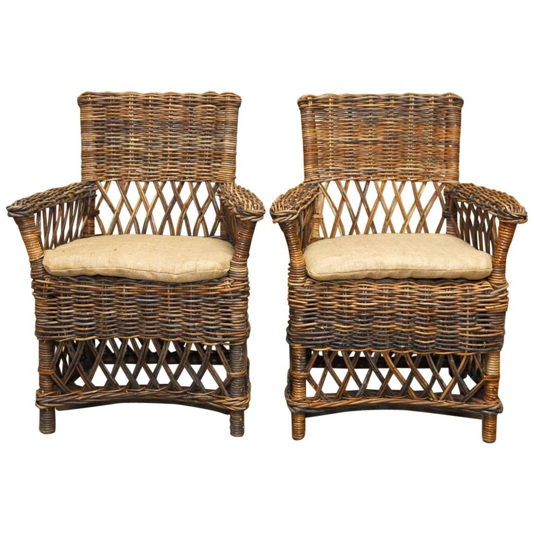 Pair Of Organic Style Woven Stick Wicker Armchairs 1