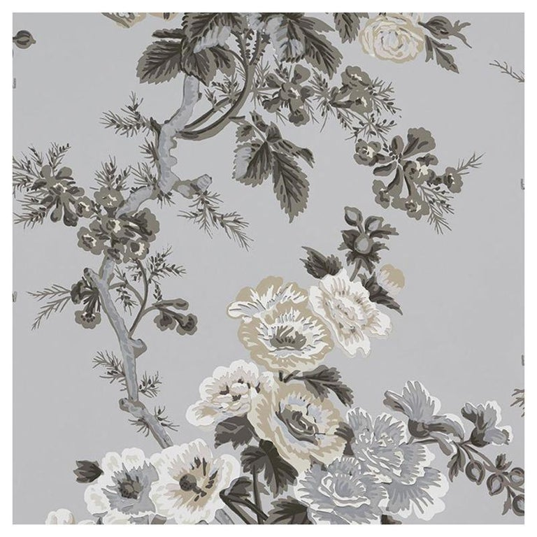 Schumacher Pyne Hollyhock floral chintz grisaille wallpaper, new
